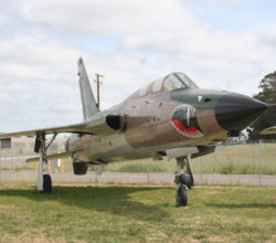 F-105F Thunderchief at the Pacific Coast Air Museum, viewed from right front.