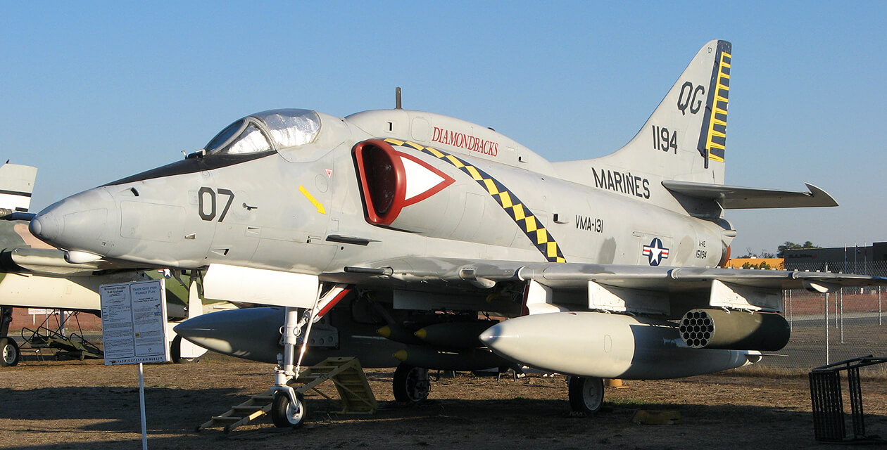 A-4E Skyhawk on the field at the Pacific Coast Air Museum, viewed from front left.