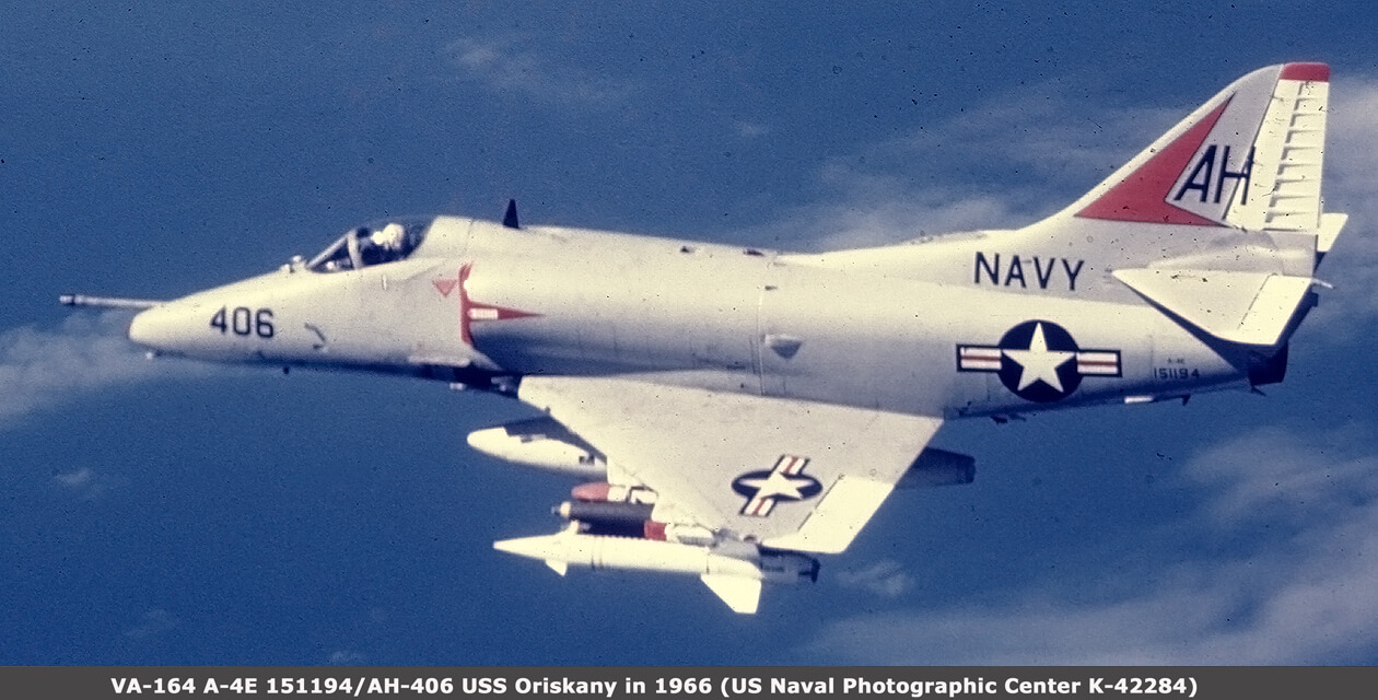 Photo of the Museum's A-4 Skyhawk in flight back in 1966 when it was flying with VA-164 from the USS Oriskany.