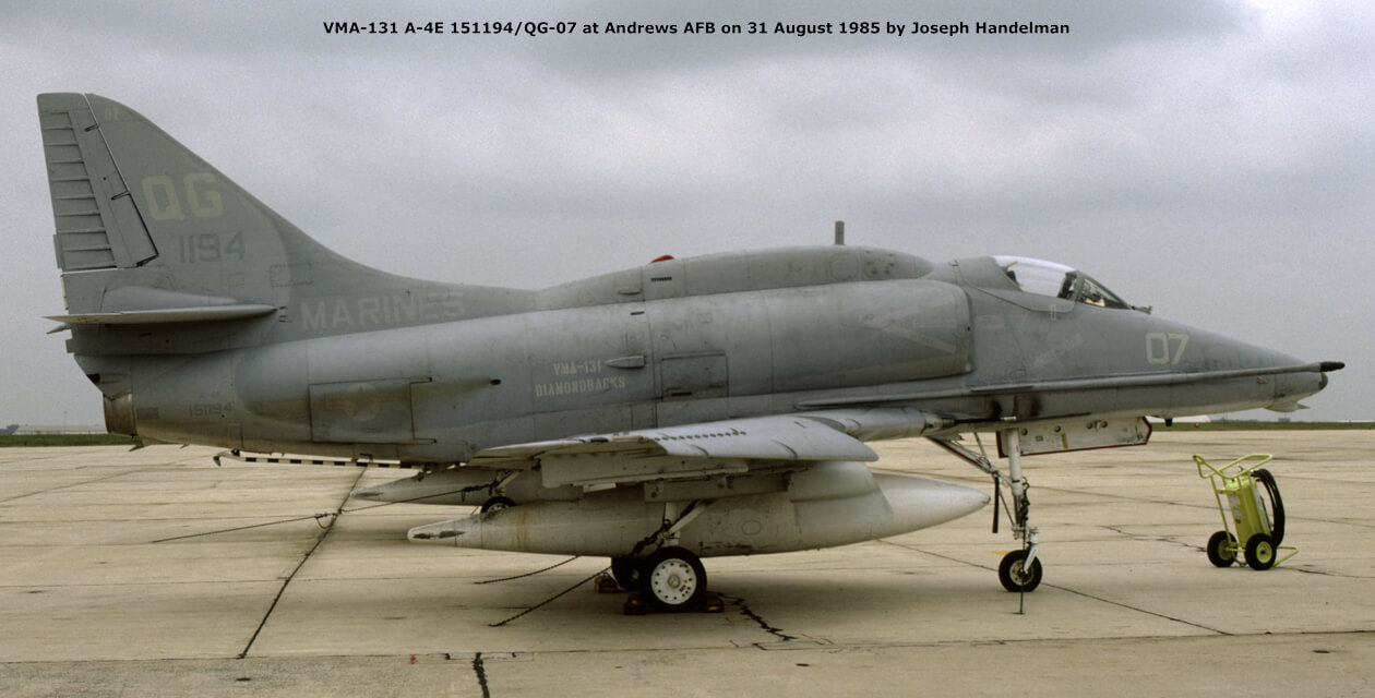A-4 Skyhawk painted in an overall gray scheme, on the ground at Andrews Air Force Base.
