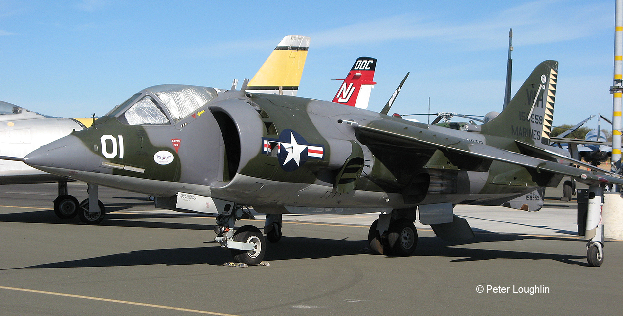 AV-8C Harrier attack jet on static display at the Wings Over Wine Country Air Show. Viewed from front left.