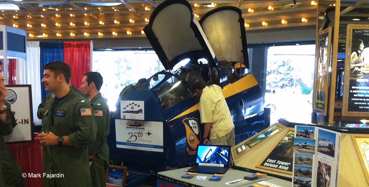 Blue Angels F-4 Cockpit Simulator. This looks like part of the nose of an F-4 Phantom, with full instrumentation and openable canopies.