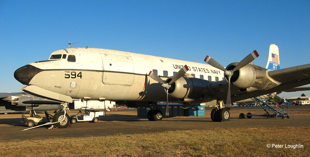 C-118 Liftmaster, large military transport with four radial piston engines. viewed from the front left quarter.