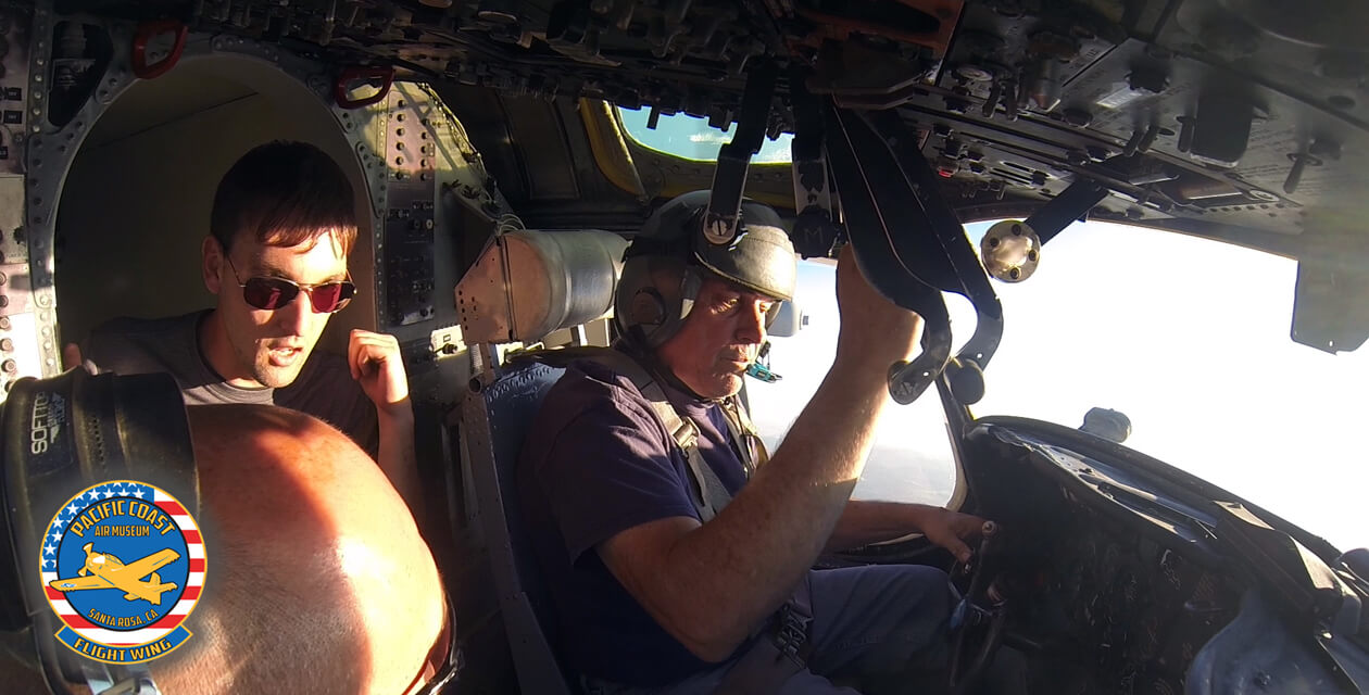 Wide angle view inside the cockpit of the C-1A in flight.