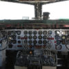 Interior view of Douglas DC-6 piston-engined airline cockpit.