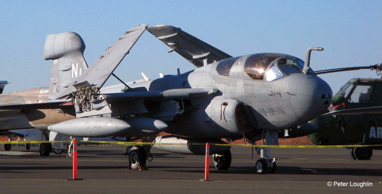 EA-6B Prowler electronic warfare jet on the ramp for static display during the Wings Over Wine Country Air Show
