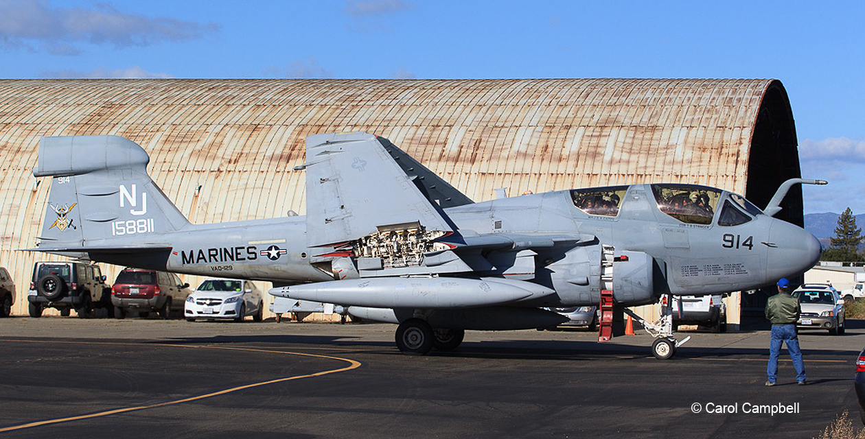 EA-6B Prowler #158811 taxiing under its own power for the last time, passes the historic Butler Hangar at the Sonoma County Airport.