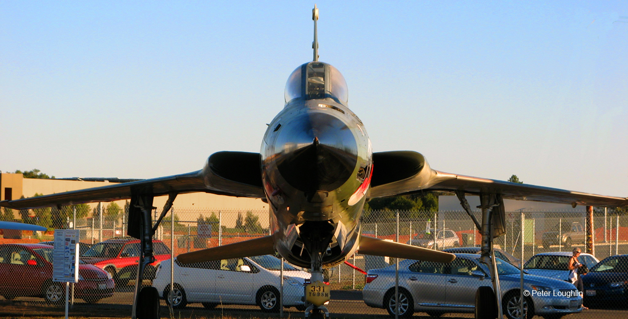 F-105 Thunderchief on the field at the Pacific Coast Air Museum, seen from directly forward.