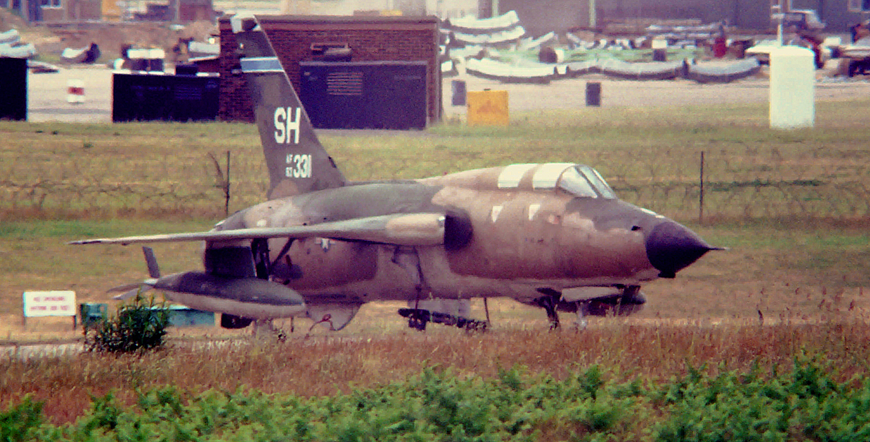 Old photograph of the Museum's F-105F Thunderchief when it was still in service with the US Air Force, 1978, Lakenheath, England.