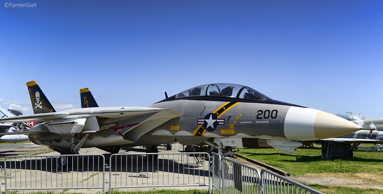 The F-14A Tomcat on the field at the Pacific Coast Air Museum. Viewed from front right.