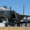 """""""First Responder"""" F-15 Eagle on the field at the Pacific Coast Air Museum. View of the front left quarter."""