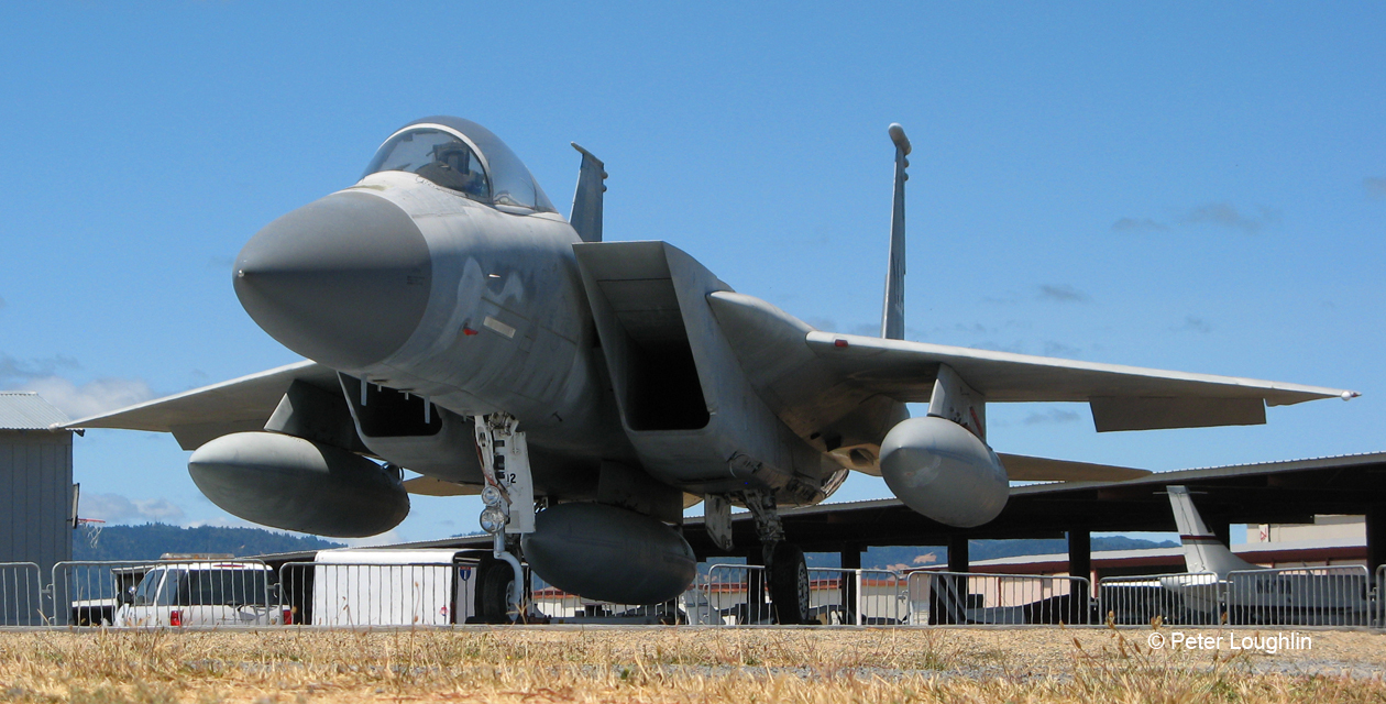 """First Responder"" F-15 Eagle on the field at the Pacific Coast Air Museum. View of the front left quarter."