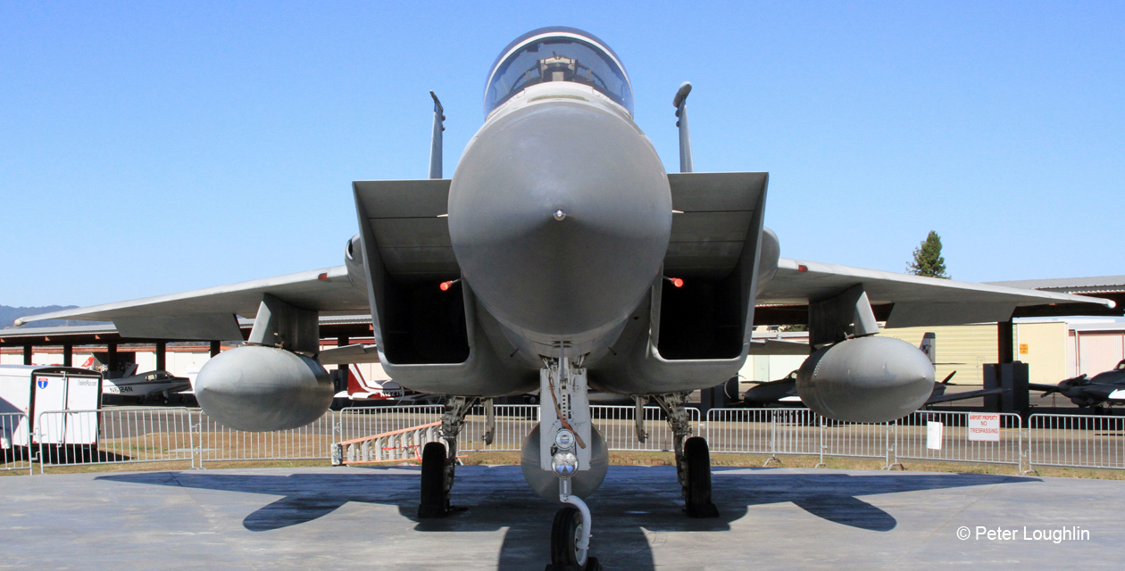 F-15A Eagle jet fighter on a special concrete pad at the Pacific Coast Air Museum, viewed from directly in front.
