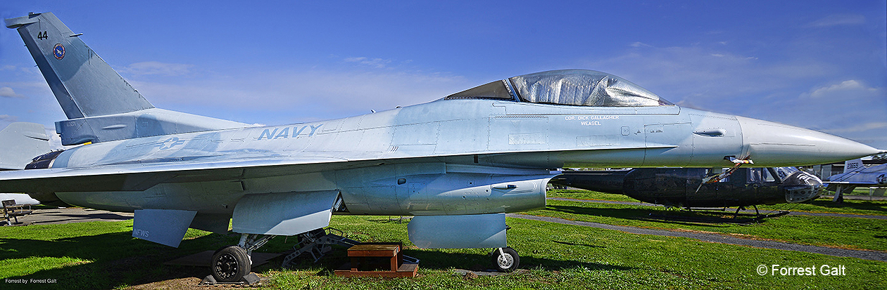 Broadside view of the F-16N Viper on the field at the Pacific Coast Air Museum.