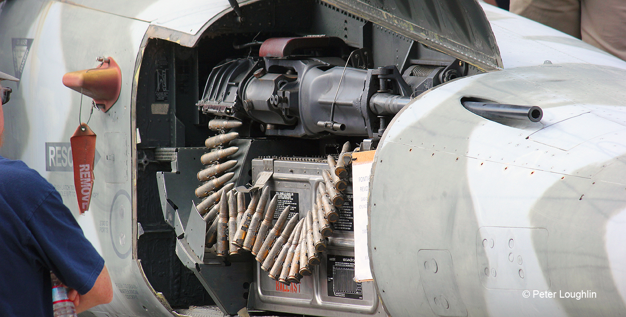 Close-up photo of the F-5E Tiger II gun compartment in the nose, showing a 20mm cannon and ammunition feed mechanism.