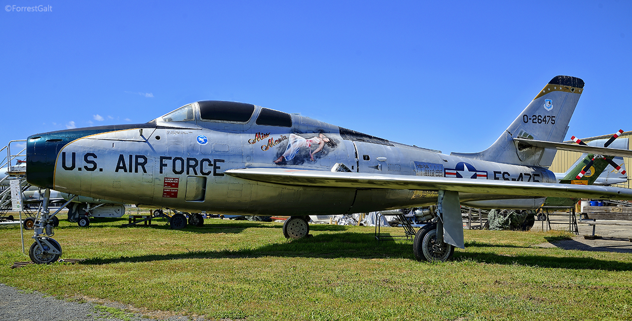 F-84F Thunderstreak jet fighter bomber, on the field at the Pacific Coast Air Museum. Viewed from the left side.
