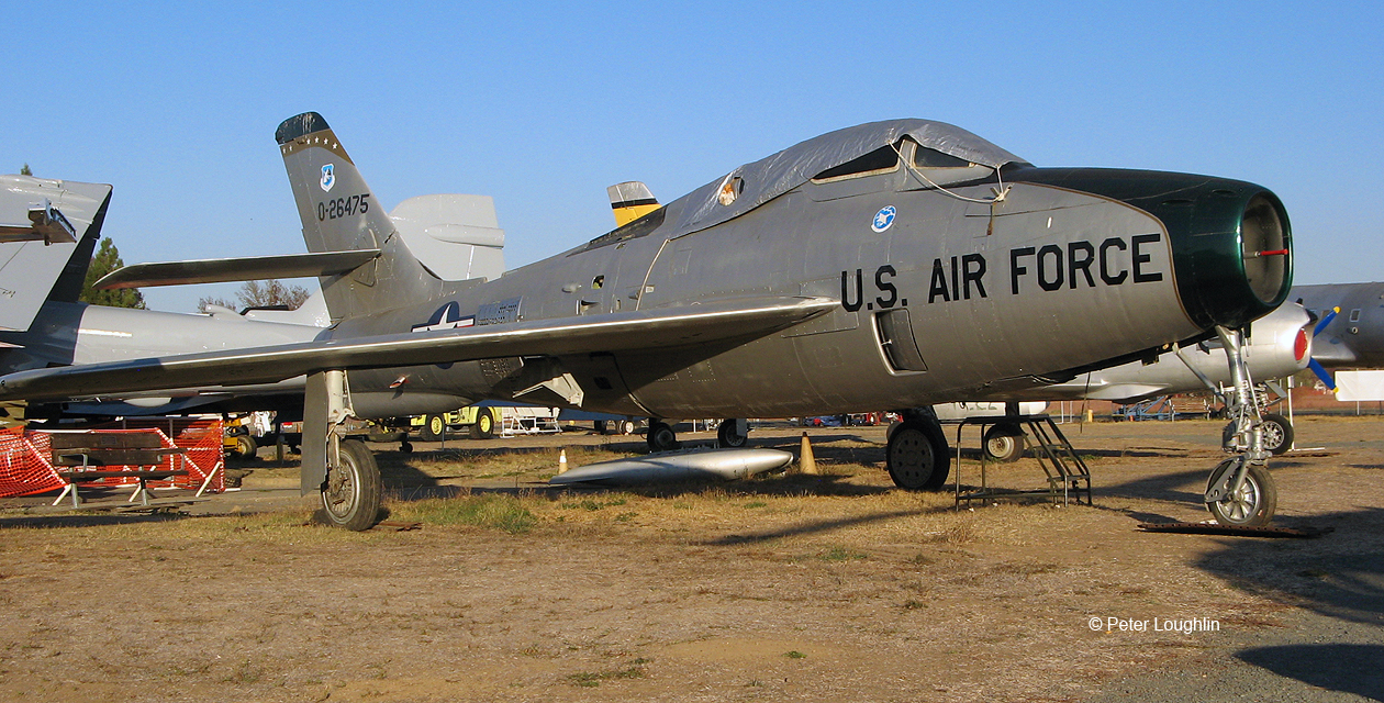 F-84F Thunderstreak jet fighter-bomber on the field at the Pacific Coast Air Museum. Viewed from the front left.
