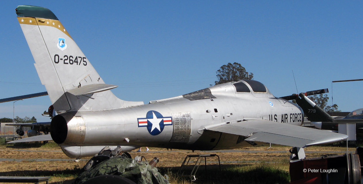 F-84F Thunderstreak jet fighter-bomber on the field at the Pacific Coast Air Museum, viewed from the right rear.