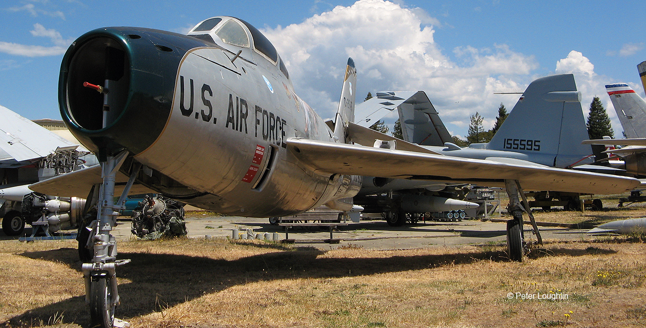 F-84F Thunderstreak jet fighter-bomber on the field at the Pacific Coast Air Museum, viewed from the front right.