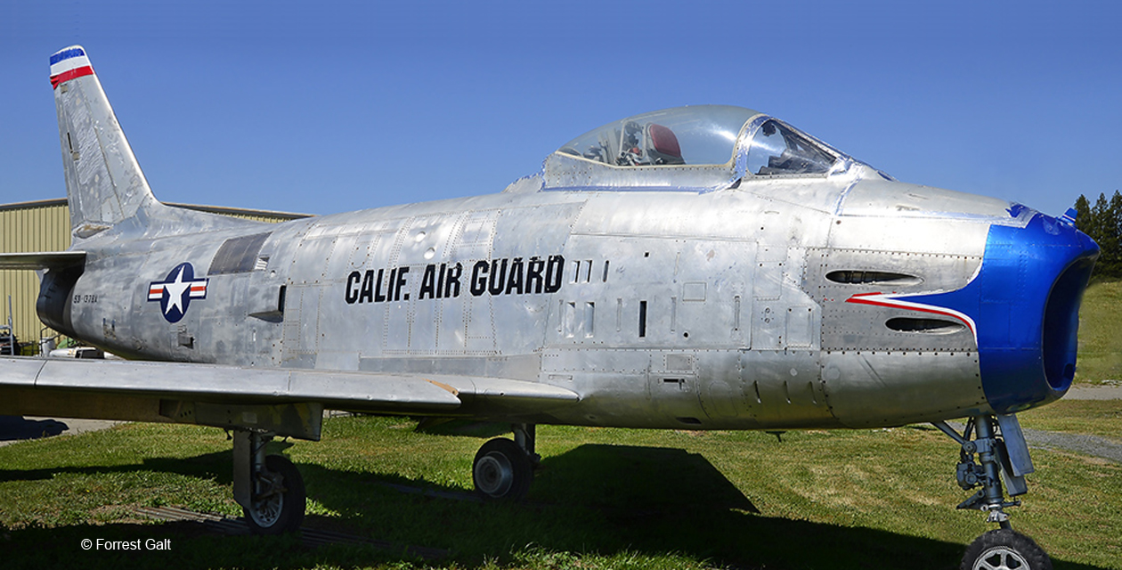 F-86H Sabre jet fighter on the grounds at the Pacific Coast Air Museum. Viewed from the front right.