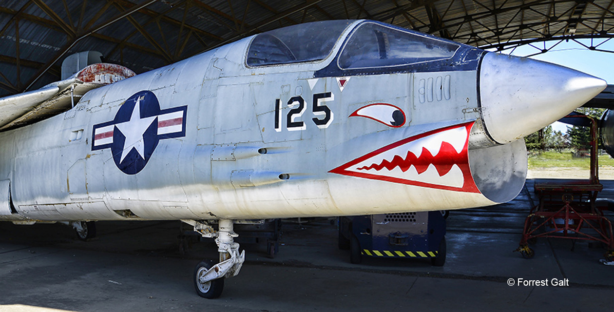 Close-up photo of the F-8U Crusader's nose from the front right.