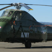 H-34 Choctaw helicopter sitting on an airport ramp in preparation for the Wings Over Wine Country Air Show.