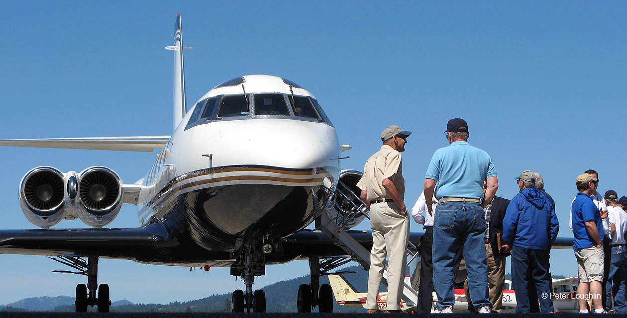 Lockheed Jetstar business Jet on the ramp at the Sonoma County Airport, just after its arrival in April 2016.