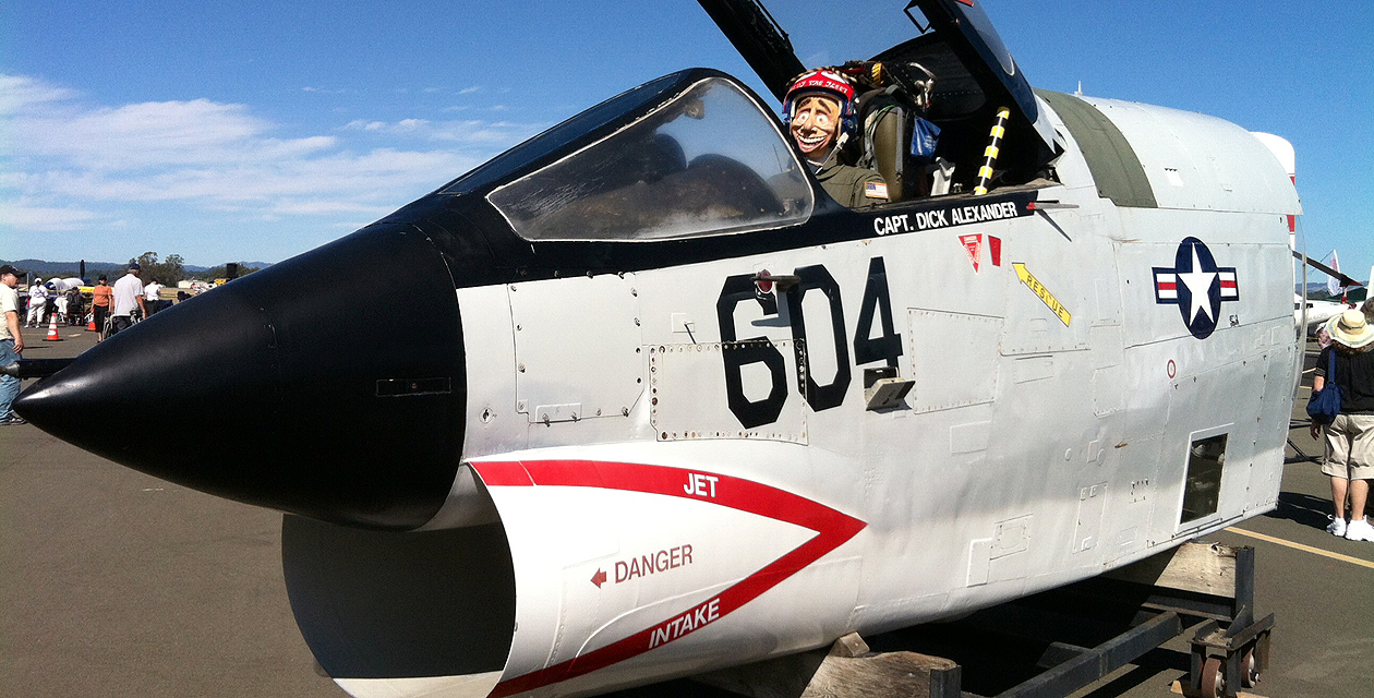 The RF-8 Crusader Cockpit on the field at the Pacific Coast Air Museum.