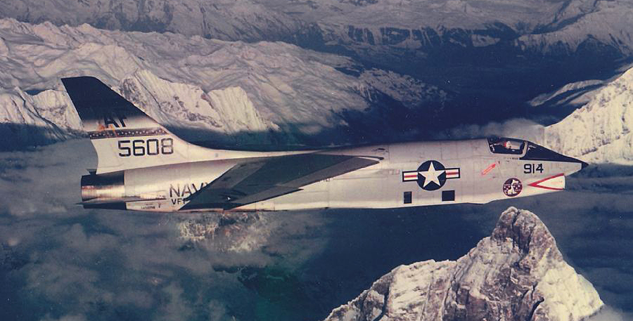 U.S. Navy photo of an RF-8G Crusader in flight