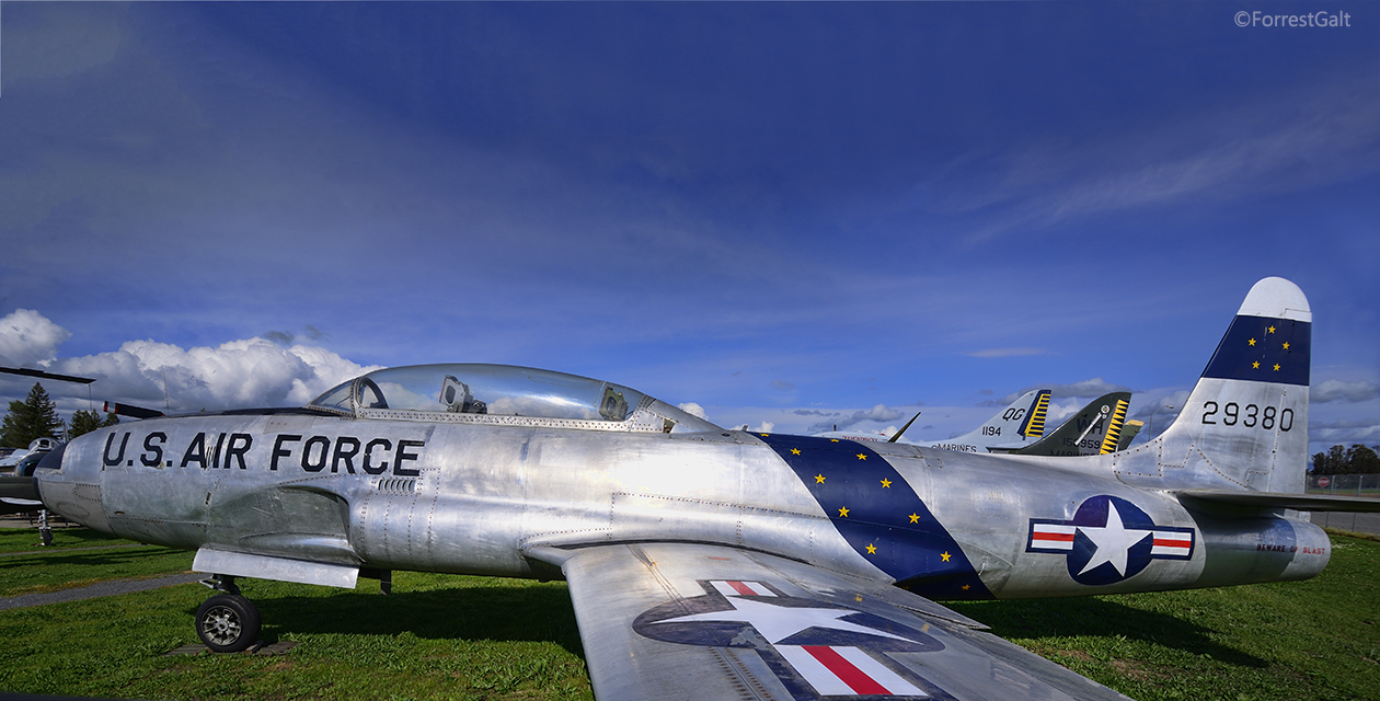The T-33 Shooting Star on the field at the Pacific Coast Air Museum, viewed from the side.