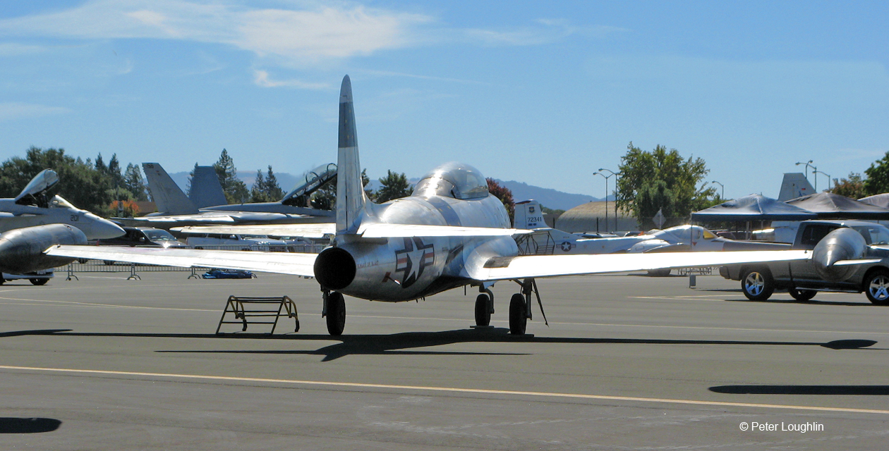 T-33 Shooting Star jet trainer on static display at the 2015 Wings Over Wine Country Air Show