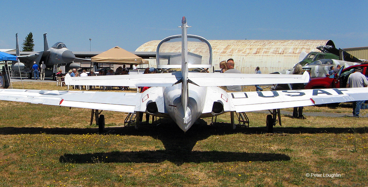 The T-37 Tweet on the field at the Pacific Coast Air Museum, viewed from the back.