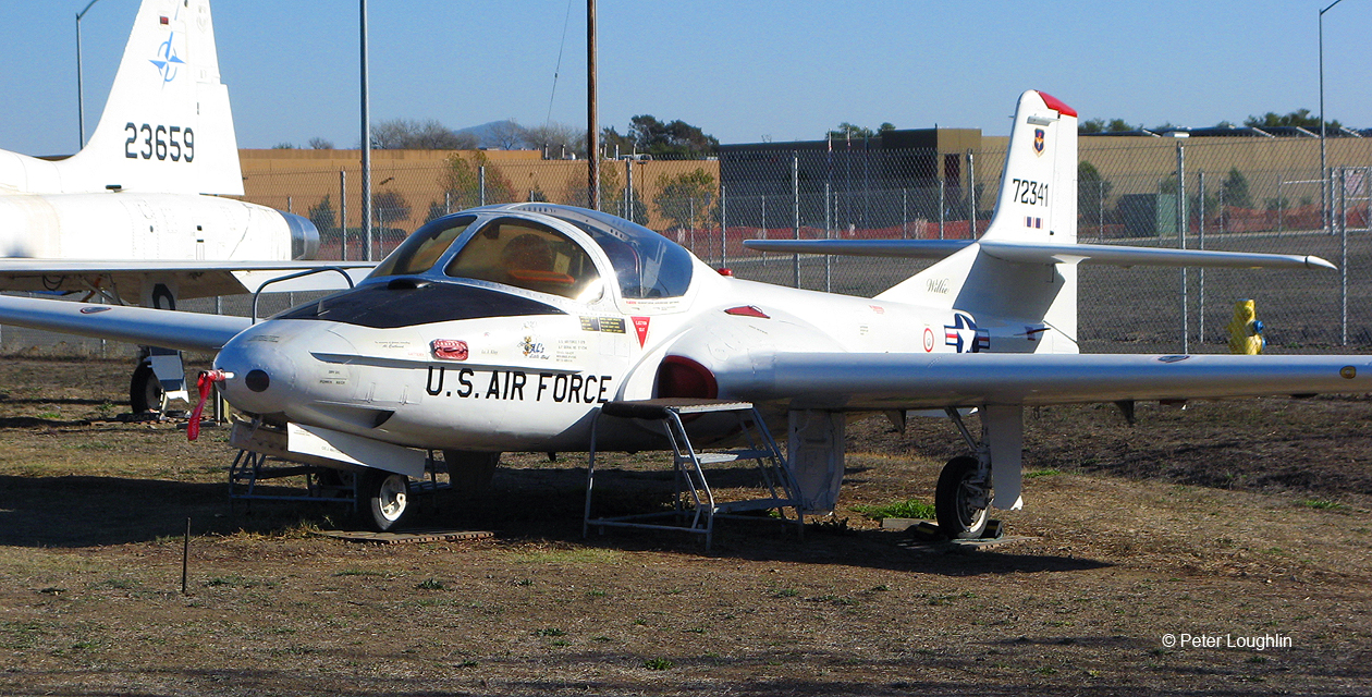 T-37 Tweet trainer on the field at the Pacific Coast Air Museum