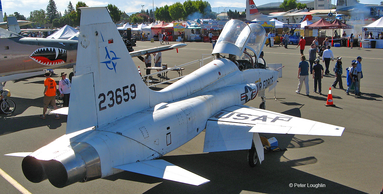 Photo from a high angle to the rear, showing a T-38 Talon trainer jet on static display at an air show.