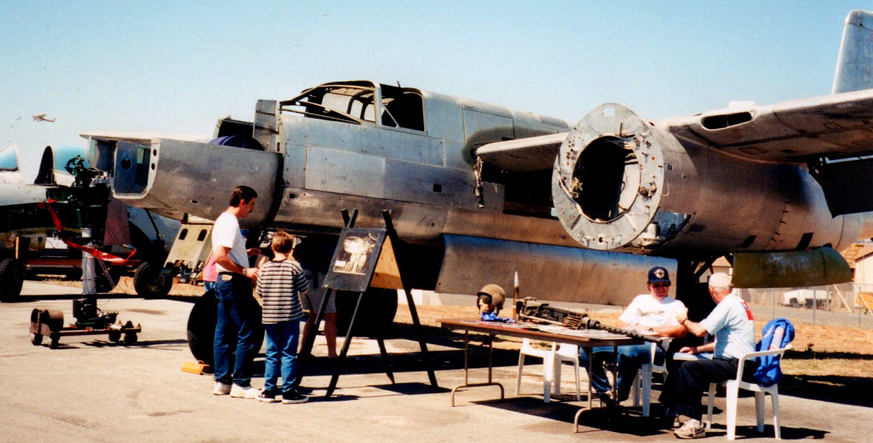 A-26 Invader on display at an air show many years ago. Shown during its restoration, it is missing its engines, plexiglass, and many other components.