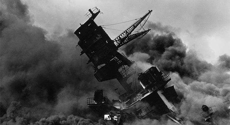 USS Arizona burning after sinking at Pearl Harbor December 7 1941