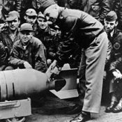 Colonel Jimmy Doolittle prepares a bomb prior to the famous raid on Tokyo, April 18 1942