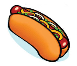 drawing of a hot dog on a bun