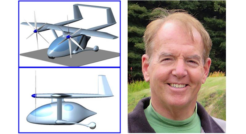 composite image showing sketches of small autonomous aircraft on the left and a portrait of speaker Brien Seeley, MD, on the right.