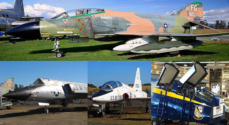 mosaic image showing F-4C Phantom, F-106 Delta Dart, T-38 Talon, and Blue Angels F-4 cockpit simulator