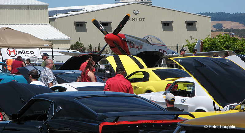 a collection of classic and muscle cars on display in front of a P-51 Mustang fighter plane at a car show