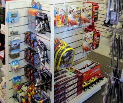 photo of aviation-themed toys on a display rack