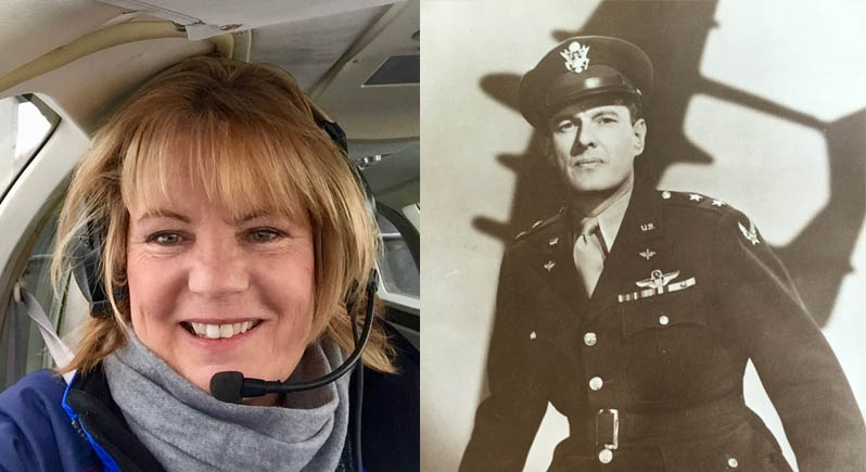 Portrait photo of Christina Olds next to black and white photo portrait of her grandfather General Robert Olds, USAF