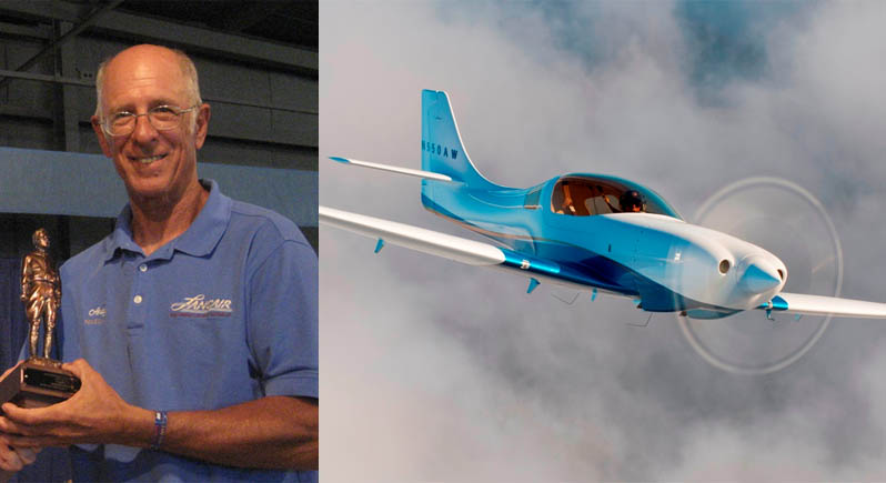 composite image of aircraft builder Andy Werback holding his trophy, and his award winning Lancair Legacy in flight