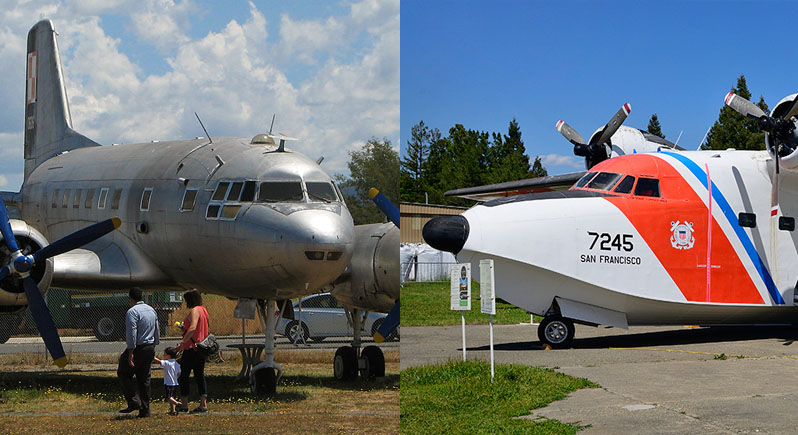 montage photo of two airplanes: Ilyushin IL-14