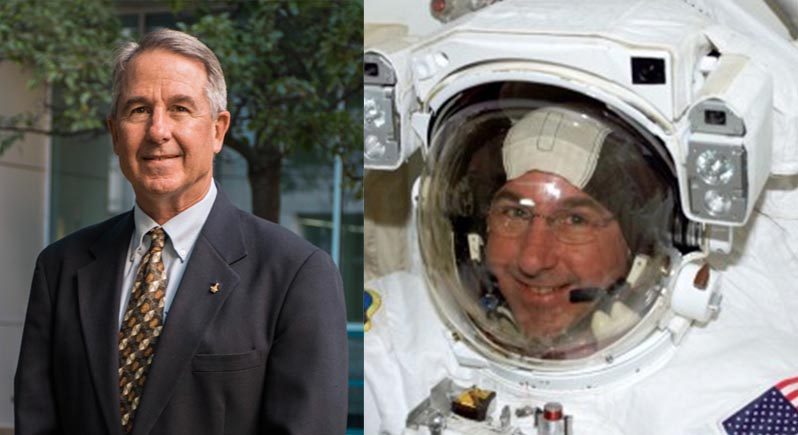 Composite photo of Dr. Stephen K. Robinson, standing at right in a business suit in a formal portrait, and a closeup of him wearing a NASA space suit and smiling through his bubble visor.
