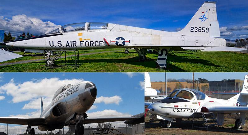 montage photo showing T-38 Talon, T-33 Shooting Star, and T-37 Tweet for Acemaker Weekend open cockpit weekend