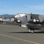 nose of the AV-8C Hawker Harrier parked on the ramp at an airport