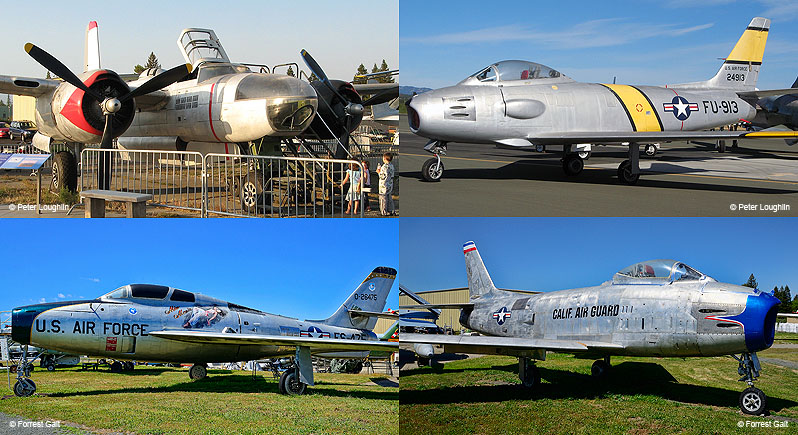 montage image of four aircraft: A-26C Invader, RF-86F Sabre Jet, F-84F Thunderstreak, and H-86H Sabre Jet