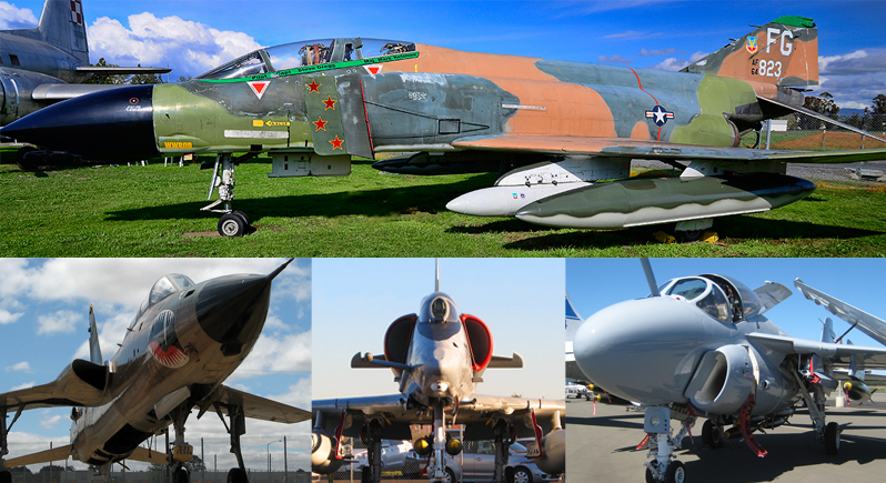 montage image consisting of four photographs - F-4C Phantom jet fighter, F-105 Thunderchief jet fighter bomber, A-4 Skyhawk attack aircraft, and A-6E attack aircraft.